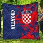 Croatia National Flag Polygon Style Premium Quilt