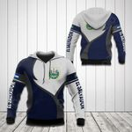 El Salvador Coat Of Arms Blue And White All Over Print Hoodies