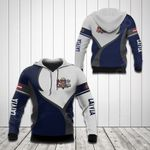 Latvia Coat Of Arms Blue And White All Over Print Hoodies