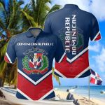 Dominican Republic Coat Of Arms Lucian Style All Over Print Polo Shirt