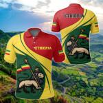 Ethiopia Flag Lion Rastafari All Over Print Polo Shirt