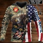 Customize US Marines Veteran All Over Print Hoodies