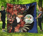 Belize National Flag With Toucan And Black Orchid Premium Quilt