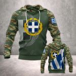 Hellenic Army With Flag All Over Print Hoodies
