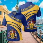 Barbados Coat Of Arms Cricket Style All Over Print Polo Shirt