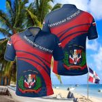 Dominican Republic Coat Of Arms Cricket Style All Over Print Polo Shirt
