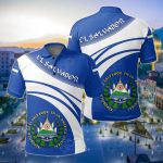 El Salvador Coat Of Arms Cricket Style All Over Print Polo Shirt