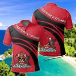 Trinidad and Tobago Coat Of Arms Cricket Style All Over Print Polo Shirt