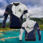 Haiti Coat Of Arms Blue And White All Over Print Hoodies