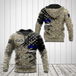 Customize Law Enforcement Flag Camo 3D All Over Print Hoodies