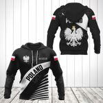 Customize Poland Coat Of Arms Black Style All Over Print Hoodies