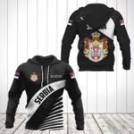 Customize Serbia Coat Of Arms Black Style All Over Print Hoodies