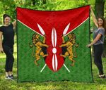 Kenya Flag And Coat Of Arms Pattern Premium Quilt
