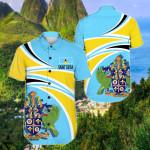 Saint Lucia N Flag Short Sleeve Linen Button Down Shirt
