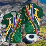 South Africa Springboks Rugby Be Unique - Green Short Sleeve Linen Button Down Shirt