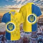 Ukraine Special Coat Of Arms Short Sleeve Linen Button Down Shirt