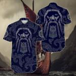 Viking Odin God Tattoo Short Sleeve Linen Button Down Shirt