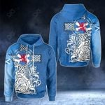 Scottish Flag and Lion - Blue Version All Over Print Hoodies