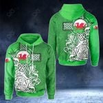 Welsh Dragon Flag With Celtic Cross - Green Version All Over Print Hoodies