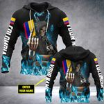 Customize Colombia Skull Fire Style All Over Print Hoodies