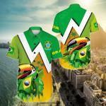 Brazil Toco Toucan Short Sleeve Linen Button Down Shirt
