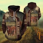 Red Angus US Flag All Over Print Hoodie