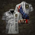 U.S.Army Symbol Flag Skull Camo Short Sleeve Linen Button Down Shirt