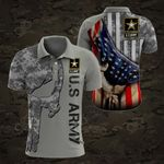 U.S.Army Symbol Flag Skull Camo All Over Print Polo Shirt