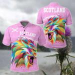 Scotland Raibown Lion Pink Style All Over Print Polo Shirt