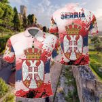 Serbia National Flag and Emblem All Over Print Polo Shirt