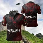 Welsh Red Dragon Breaking Out All Over Print Polo Shirt