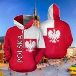 Polska - Poland Coat Of Arms Flag Half All Over Print Hoodies