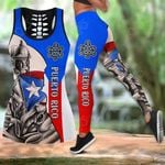 Puerto Rico Sol Taino Flag Hollow Tank Top Or Legging