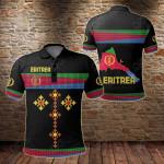Eritrea Flag Round Pattern Black All Over Print Polo Shirt