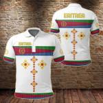 Eritrea Flag Round Pattern White All Over Print Polo Shirt