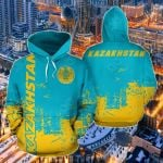 Kazakhstan - Smudge Style All Over Print Hoodies
