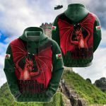 Welsh Dragon Thorny All Over Print Hoodies