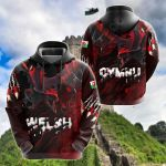 Welsh Red Dragon Breaking Out All Over Print Hoodies