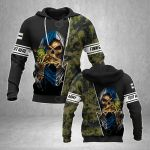 Customize Finnish Army With Skull All Over Print Hoodies