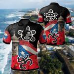 Puerto Rico Taino Frog All Over Print Polo Shirt