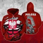 Poland In Me Red All Over Print Hoodies