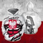 Poland In Me White All Over Print Hoodies
