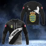 Customize Denmark Coat Of Arms Black Style All Over Print Hoodies