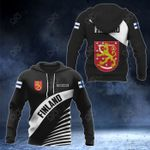 Customize Finland Coat Of Arms Black Style All Over Print Hoodies