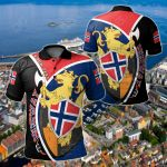 Customize Norway National Flag With Norwegian Golden Lion All Over Print Polo Shirt