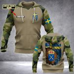 Customize Swedish Army Coat Of Arms & Flag All Over Print Hoodies