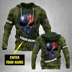 Customize Australian Army Camo Skull Flag All Over Print Hoodies