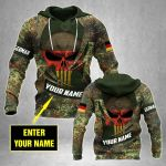 Customize German Army Camo Skull Flag All Over Print Hoodies