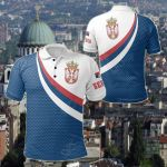 Serbia Flag (Blue) All Over Print Polo Shirt