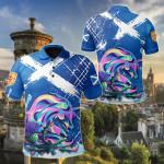 Scotland Thistle Unicorn Watercolor Version All Over Print Polo Shirt